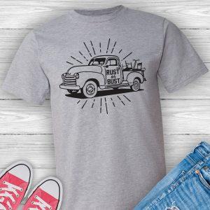Rust or Bust vintage truck junkin tee shirt