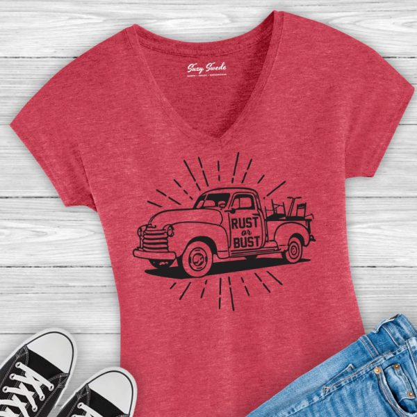 Rust or Bust Ladies V-Neck Tee