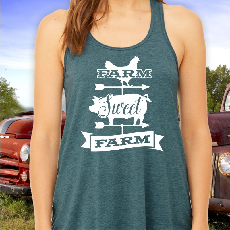 Farm Sweet Farm Ladies Racerback Tank