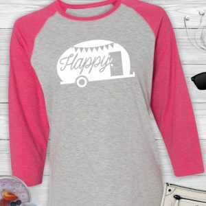 Happy Camper Ladies Glamping Baseball Tee Shirt