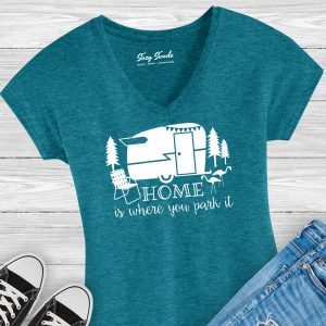 Home is Where You Park It Vintage Camper Ladies Shirt