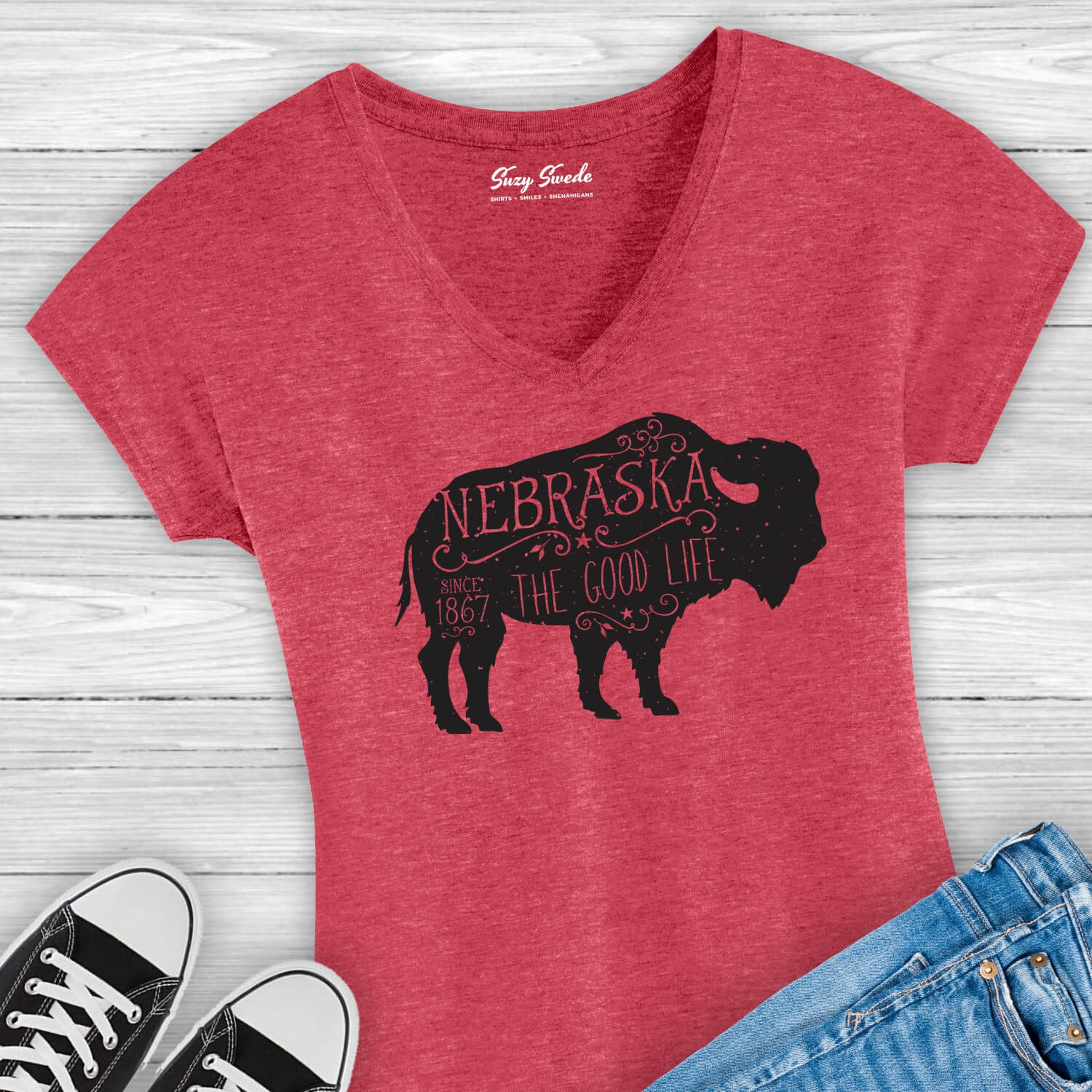 Nebraska-Good-Life-Buffalo-Ladies-Tee