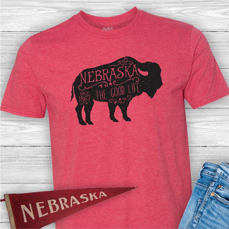 Nebraska-Good-Life-Buffalo-Tee-Shirt
