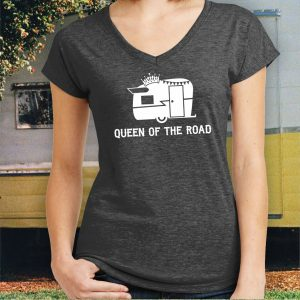 Queen of the Road Ladies Travel Trailer Shirt