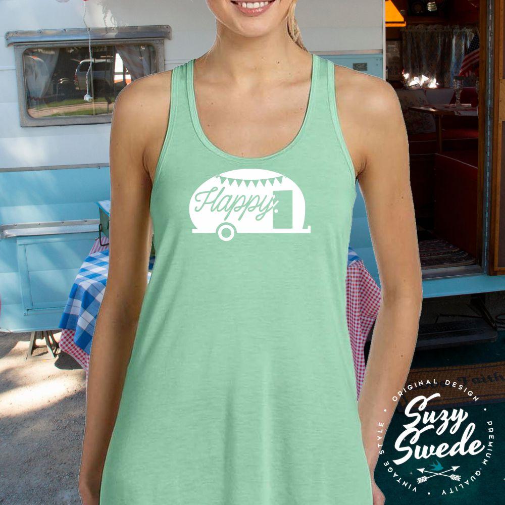 Happy Camper Ladies Racerback Tank