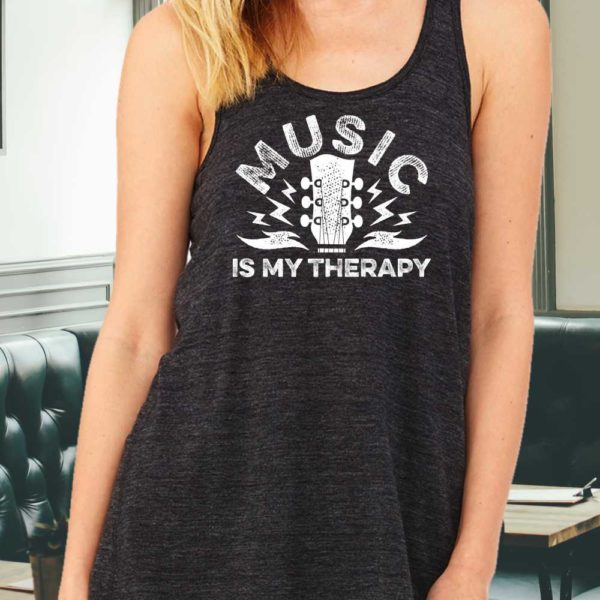 Music is my Therapy Ladies Racerback Tank