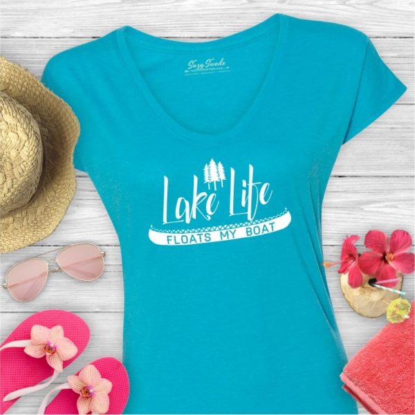 Lake Life Floats My Boat Ladies Lake Shirt