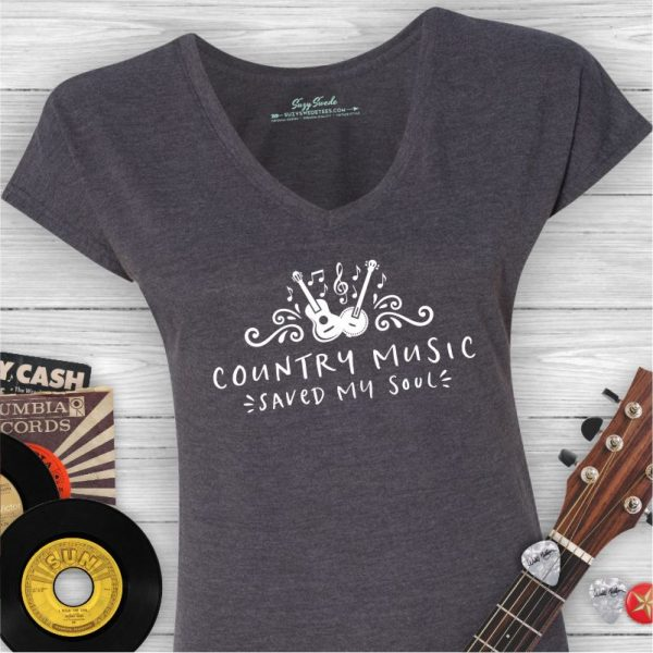 Country Music Saved My Soul Ladies V-neck Tee Shirt