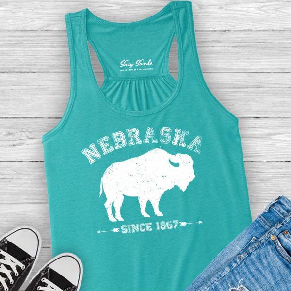 Nebraska girl ladies tank top