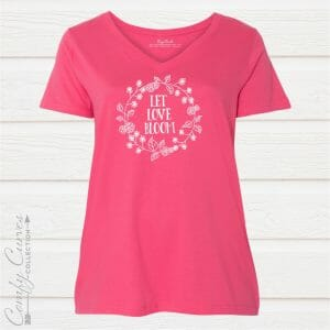 Let Love Bloom Ladies Curvy V-neck Tee