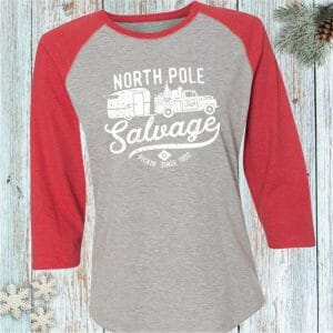 North Pole Salvage Holiday Junkin' Baseball Tee