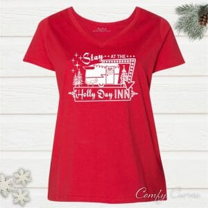 Stay at the Holly Day Inn Ladies Curvy Holiday Tee