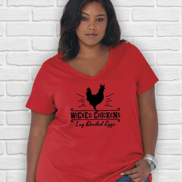 Wicked Chickens Lay Deviled Eggs Plus Size chicken shirt