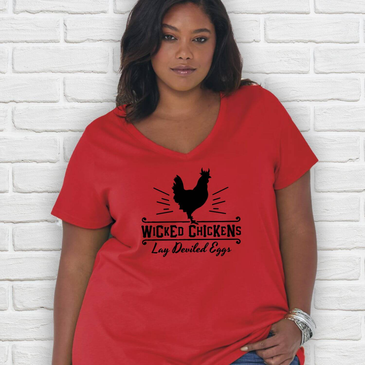 Wicked Chickens-Red-Curvy-Vneck