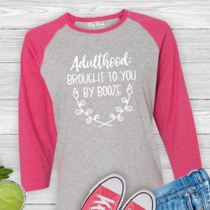 Adulthood - Brought to You By Booze Baseball Tee