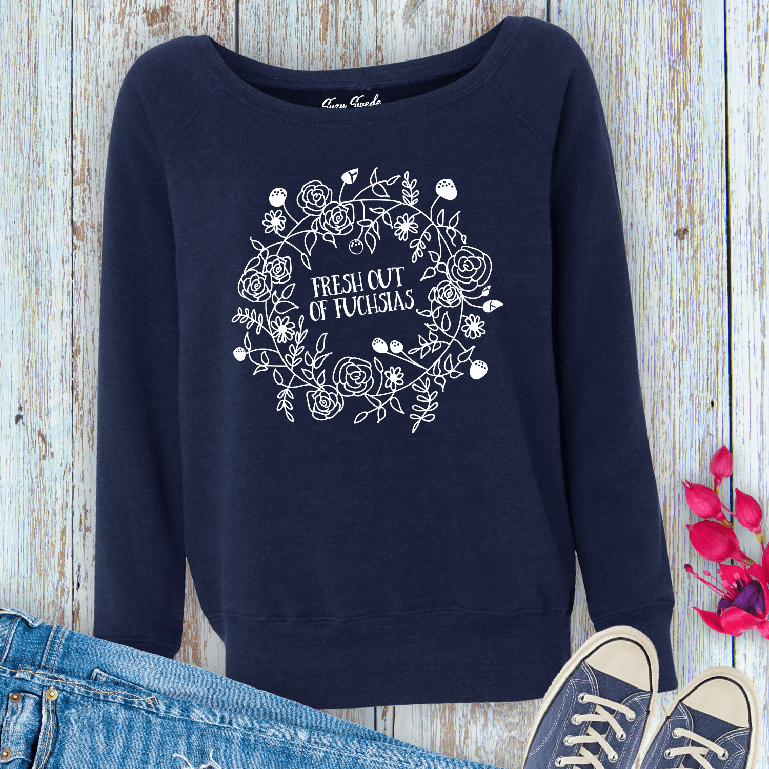 Fresh-Out-Fuschias-Ladies-Sweatshirt