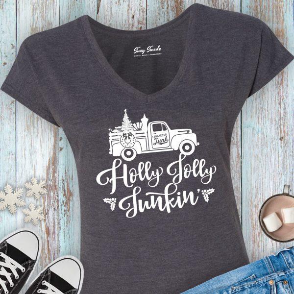 Holly Jolly Junkin' Ladies Vneck Tshirt