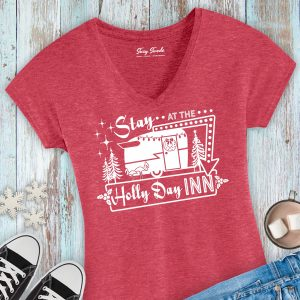 Stay at the Holly Day Inn Vintage Camper Holiday Ladies T-Shirt