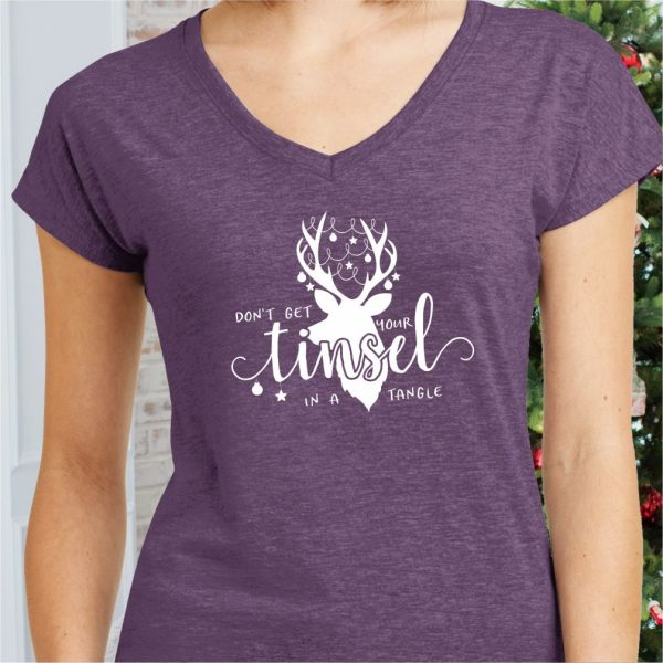 Don't Get Your Tinsel in a Tangle Ladies Holiday T-Shirt