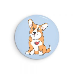 Corgi Love Pin Back Button Badge or Fridge Magnet